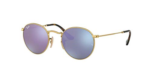 Ray-Ban RB3447N Round Flat Lenses Metal Sunglasses, Shiny Gold/Lilac Flash, 47 mm ()