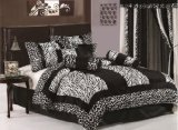 Chezmoi Collection 8-Piece Black and White Micro Fur Zebra with Giraffe Design Comforter 86-Inch by 88-Inch Bed-in-a-bag Set, Full or Double Size Bedding by Chezmoi Collection