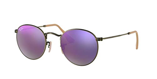 c36a1c4c2b Amazon.com  Ray-Ban RB3447 Round Metal Mirror Unisex Sunglasses (Demiglos  Brushed Bronze Lilac Mirror 167 4K