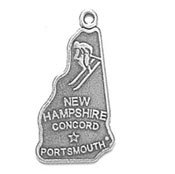 Sterling Silver New Hampshire State Charm with Split Ring Item #628