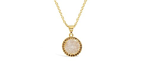 Ellena Rose Round Drusy Necklace With Cubic Zirconia Stone
