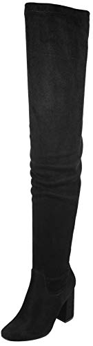 Nature Breeze Elantra 01 Womens Stretchy Thigh High Chunky Heel Suede Boots,Black Suede,6