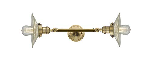 Innovations Lighting 208L-BB-G2 Halophane 2 Light 9 inch Brushed Brass Bath Vanity Wall Light
