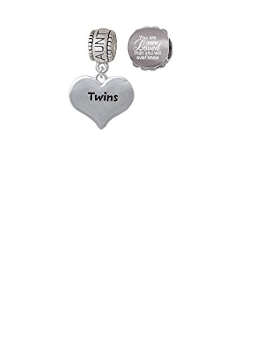 Twins Heart with Two Pair of Baby Feet Aunt Charm Bead with You Are More Loved Bead (Set of 2)