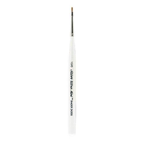 10/0 Taklon Paint Brush - Silver Brush 2420S-10/0 Ultra Mini Short Handle Golden Taklon Brush, Shader, Size 10/0