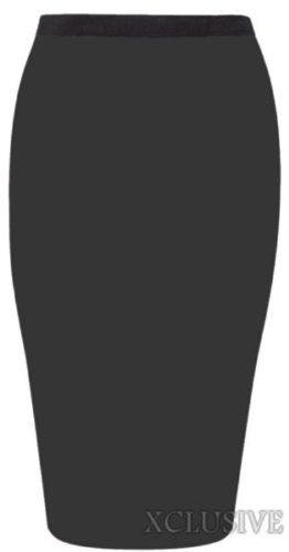 nouvelles femmes de taille plus jersey midi jupes occasionnels jupes 44-54 Black