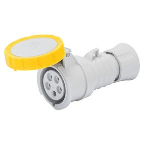 Gewiss GW62023H Low Voltage Screw Wiring Straight Connector, High Performance, IP66/IP67/IP68/IP69, 4 Reference, 2P+E Pole, 100V-130V, 16 A, 50 Hz/60 Hz, Yellow Gewiss S.p.A.