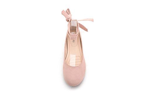 Mila Dam (agnes-1) Perforerade Strappy Fotled Wrap Ballerlina Chic Flats Skor Rosa 5,5
