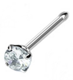 18g Surgical Steel Nose Ring Stud Body Jewelry Piercing with Clear Gem 18 Gauge Nemesis Body JewelryTM