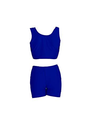 - speerise Girls 2-Piece Gymnastics Dance Tank Top with Shorts Activewear Set, Royal Blue, 6X-7