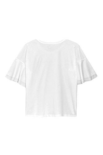 next Mujer Camiseta Punto Mezcla Manga Volante Regular Top Ropa Blanco