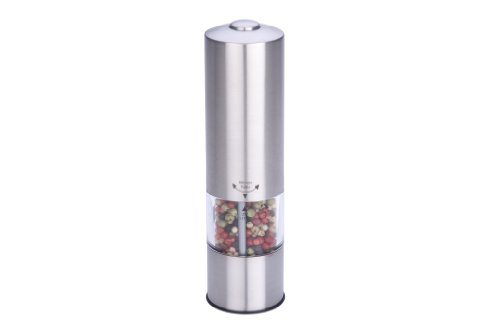 MIU France Stainless Steel Battery-Operated Peppermill with LED Light ()