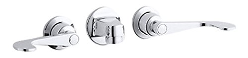 Kohler K-8046-5N-CP Triton 0.5 gpm Shelf-Back Commercial Bathroom Sink Faucet with Grid Drain and wristblade Lever Handles Polished Chrome