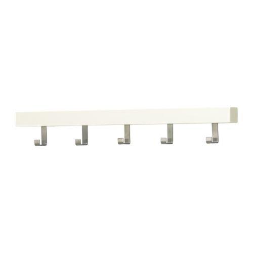 Ikea Tjusig White 5 Hook Coat Hanger Clothes Rack Hats Towels Scarves Wall or Over Door Wooden