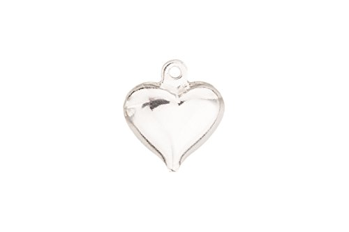 - Puff Hallow Heart Charm Silver Plated Brass 13x11.5mm sold per pack of 20 (2pack bundle), SAVE $1