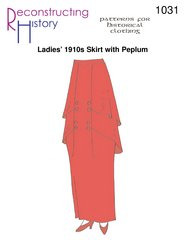 [Ladies' 1910s Skirt with Peplum Pattern] (1910 Costumes)