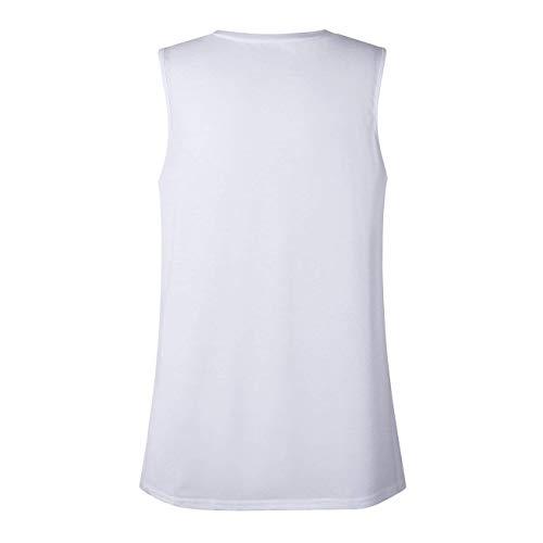 Spalline Shirt Bianca Rotondo Collo T Shirt Moda Casual Donna Pattern Smanicato Moda di Tops Alba Maglietta Chic Elegante Confortevole Ragazza Senza Estivi 7O6OnBH