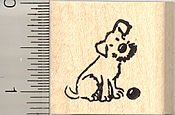 Small Dog with Ball Rubber Stamp - Wood - Stamp Dog Rubber Wood