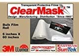 """ClearMask 6"""" X 60"""" Fabricated Paint Protection Film Roll (8 Mil Clear Urethane Film from 3M, Eastman Llumar Suntek or Equal)"""