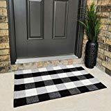 "Cotton Buffalo Plaid Rugs Buffalo Check Rug Black and White Checkered Rug Welcome Doormat Rug for Kitchen Carpet Bathroom Outdoor Porch Laundry Living Room Braided Washable Throw Mat (23.6""x35.4"")"