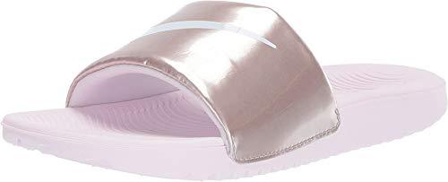 (Nike Girls' Kawa Slide (GS/PS) Sandal, Arctic Pink/White - Metallic/red/Brown 5Y Regular US Little Kid)