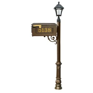 Mailbox w/Post Ornate Base & Solar Lamp, with Vinyl Numbers, Bronze (Bayview Solar Lamp)