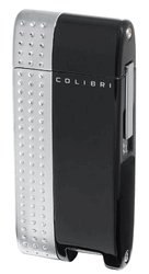 Colibri Turbo Black Lacquer / Silver Torch Flame Windproof Lighter QTR389001