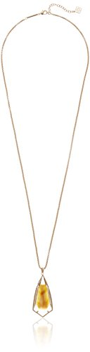 "Kendra Scott Carole Rose Gold Brown Mother of Pearl Pendant Necklace, 30"" + 2"" Extender"