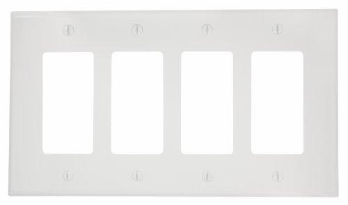 Leviton PJ264-W 4-Gang Decora/GFCI Decora Wallplate, Midway Size, White