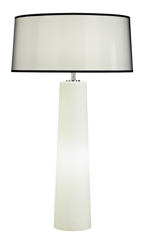 Robert Abbey 1578B Lamps with Black Organza Fabric and Self Fabric Top/Bottom Diffuser Shades, Frosted Cased Glass Base - Table Black Robert Abbey Lamp