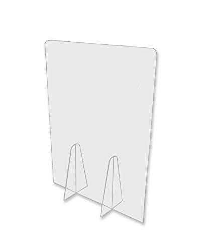 🥇 Pantalla Protección Mostrador 50x65cm – Fabricada en PET Policarbonato Transparente – Mampara para Mostradores de Tiendas – Separador Transparente Supermercados