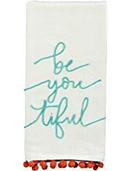 - Primitives by Kathy Luxury Cotton be you tiful Beautiful Embroidered Towel with Pom Pom Trim 20