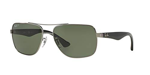 Ray-Ban Men's RB3483 Square Metal Sunglasses, Gunmetal/Green, 60 ()