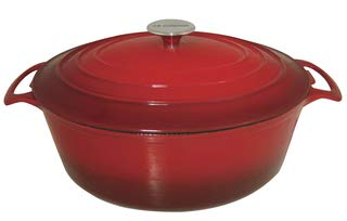Oval Enamel Cast Iron - Le Cuistot Enameled Cast Iron Oval Dutch Oven | 8.5 Quart, Beautiful Graduated Red Color, Oven Safe and Induction Compatible, Easy Maintenance