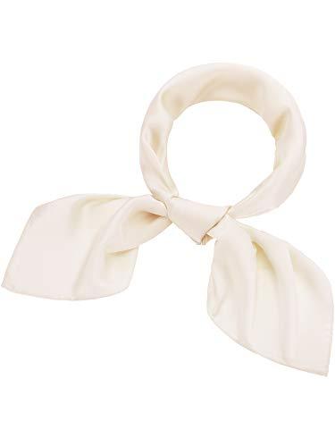 (Satinior Chiffon Scarf Square Handkerchief Satin Ribbon Scarf Neck Scarf for Women Girls Ladies Favor (23.6 x 23.6 inches, Beige))