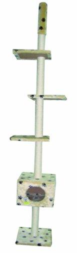 Heim Jupiter 25178 Cat Scratching Post Adjustable Height 195-250 cm Beige with Paw Print Design