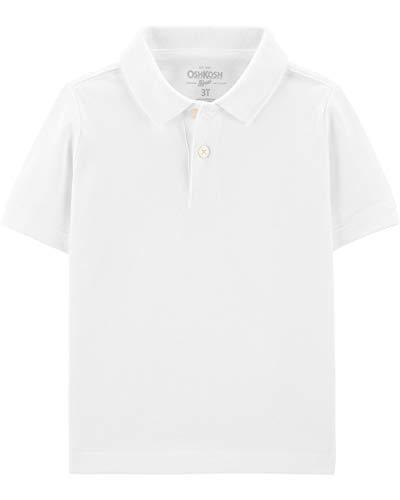 - Osh Kosh Boys' Short Sleeve Uniform Polo, White, 4T