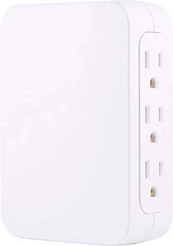 (GE Pro 5 Grounded Outlet Wall Tap Surge Protector, 2 USB Ports, Side-Access Outlets, 2.4A Dual USB Ports, 860 Joule Surge Protection, Automatic Shutdown Technology, White, 39670)