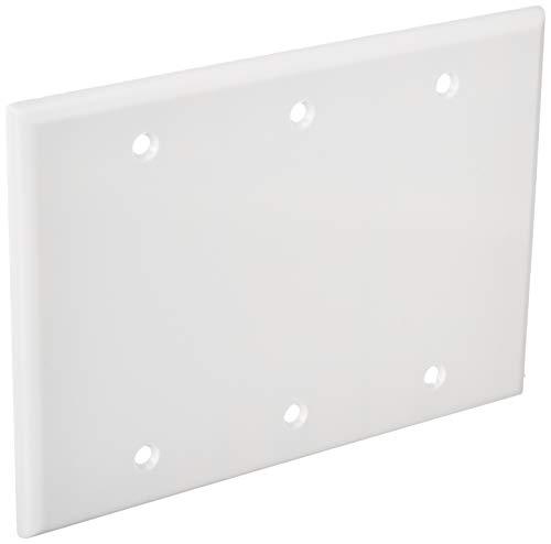 Leviton 88033 3-Gang No Device Blank Wallplate, Standard Size, Thermoset, Box Mount, - Gang 3 Leviton Blank