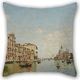 Artistdecor Oil Painting Federico Del Campo - View Of The Grand Canal Of Venice Cushion Cases 16 X 16 Inches / 40 By 40 Cm For Outdoor,home Office,pub,office,valentine,home With Two - Venice Futon
