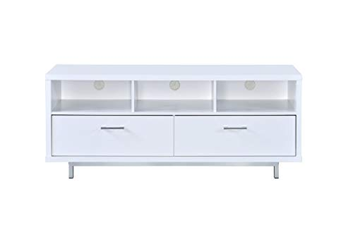 Coaster Home Furnishings 2-Drawer TV Console with 3 Storage Compartments White (Unit Tv With Drawers)