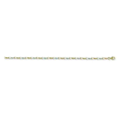 9ct 2Couleur Blanc et Jaune doré Fancy Bracelet 2.8G