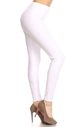 LDR128-White Basic Solid Leggings, One Size -