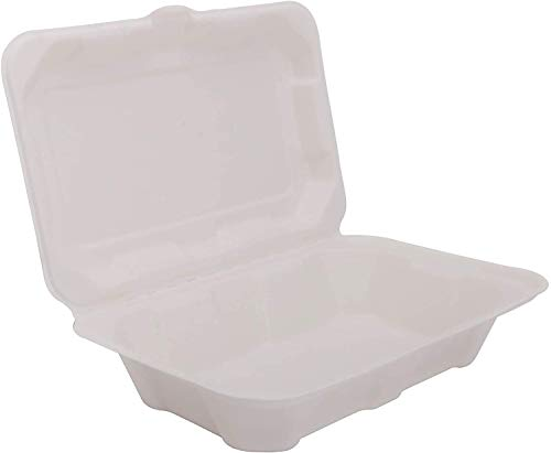 ECOWARE: 100% Biodegradable, Compostable, Ecofriendly, Disposable Clamshell Box 1000 ml (Pack of 50 Boxes)