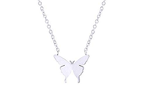 Dainty Butterfly Necklace - Stainless Steel Silver Necklace - 16 inch Necklace for Women and Girls