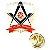 Masonic Lest We Forget Remembrance Poppy Enamel Lapel Pin Badge