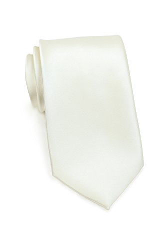 Bows-N-Ties Men's Necktie Solid Color Microfiber Satin Tie 3.25 Inches (Cream)