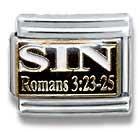 Sin Romans 3:23-25, Christian, Religious Theme Italian Charm