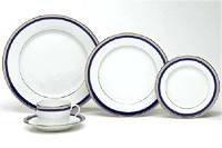 SYMPHONIE PLATINUM and BLUE 5 PIECE PLACE SET
