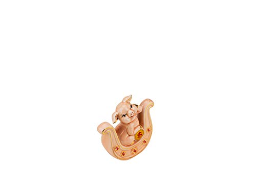 (Quality Import P100, Porcelain Pig on Horseshoe, 2019 Chinese Zodiac Year of Pig, Feng Shui Enamel Statuette, Piglet Collectible Figurine)